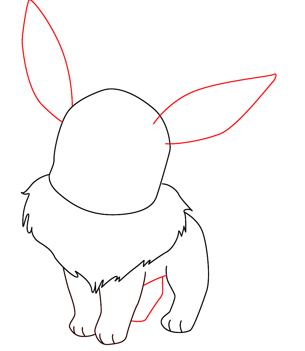How To Draw Eevee Pokemon on drawing process