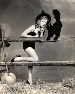 Halloween Pinup Girl Black Cat
