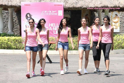 Miss-India Contestant Hot in Pink get-up at Yamaha Campaign