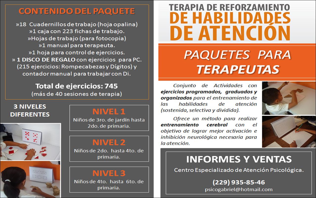 TERAPIA DE REFORZAMIENTO DE HABILIDADES DE ATENCION