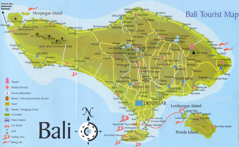 Map of Sanur Bali Bali Tourist Map