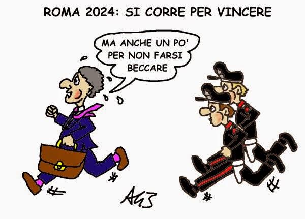 olimpiadi, roma, mafiacapitale, satira, vignetta