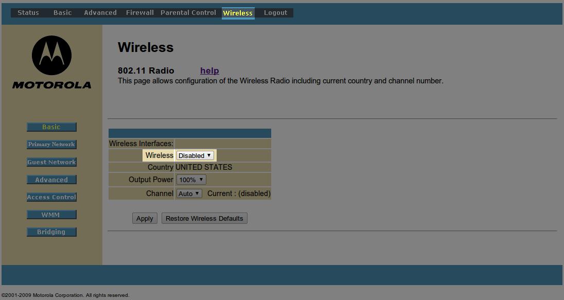 Motorola Wireless Router Setup Password
