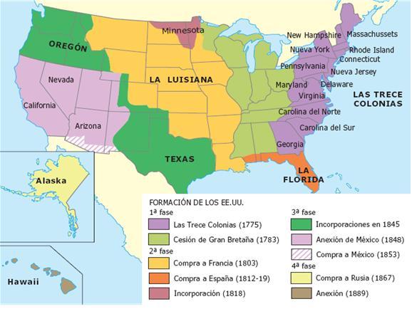 Resultado de imagen de mapa independencia EEUU
