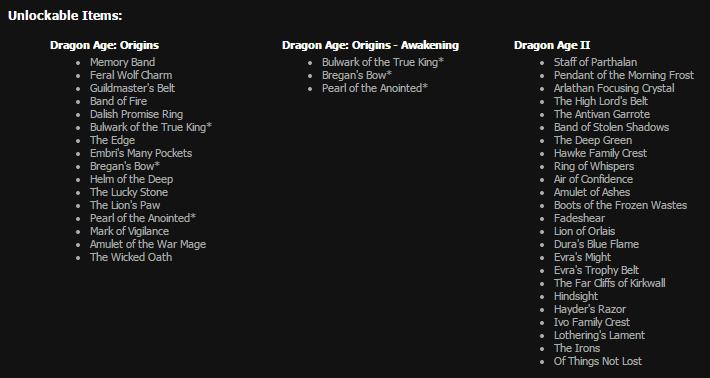 Бонусные вещи с Dragon Age: Origins для Origin бесплатно