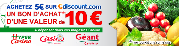 Bon d'achat de 10 € chez Casino à moitié prix
