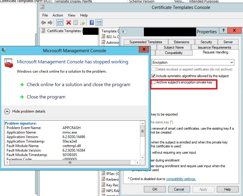 A networkers log file cert template mmc crashed on ws2012 a technical support was raised to microsoft premium support with tttraceexe debugging tool eventually the support team replied that the crash was due to yadclub Images