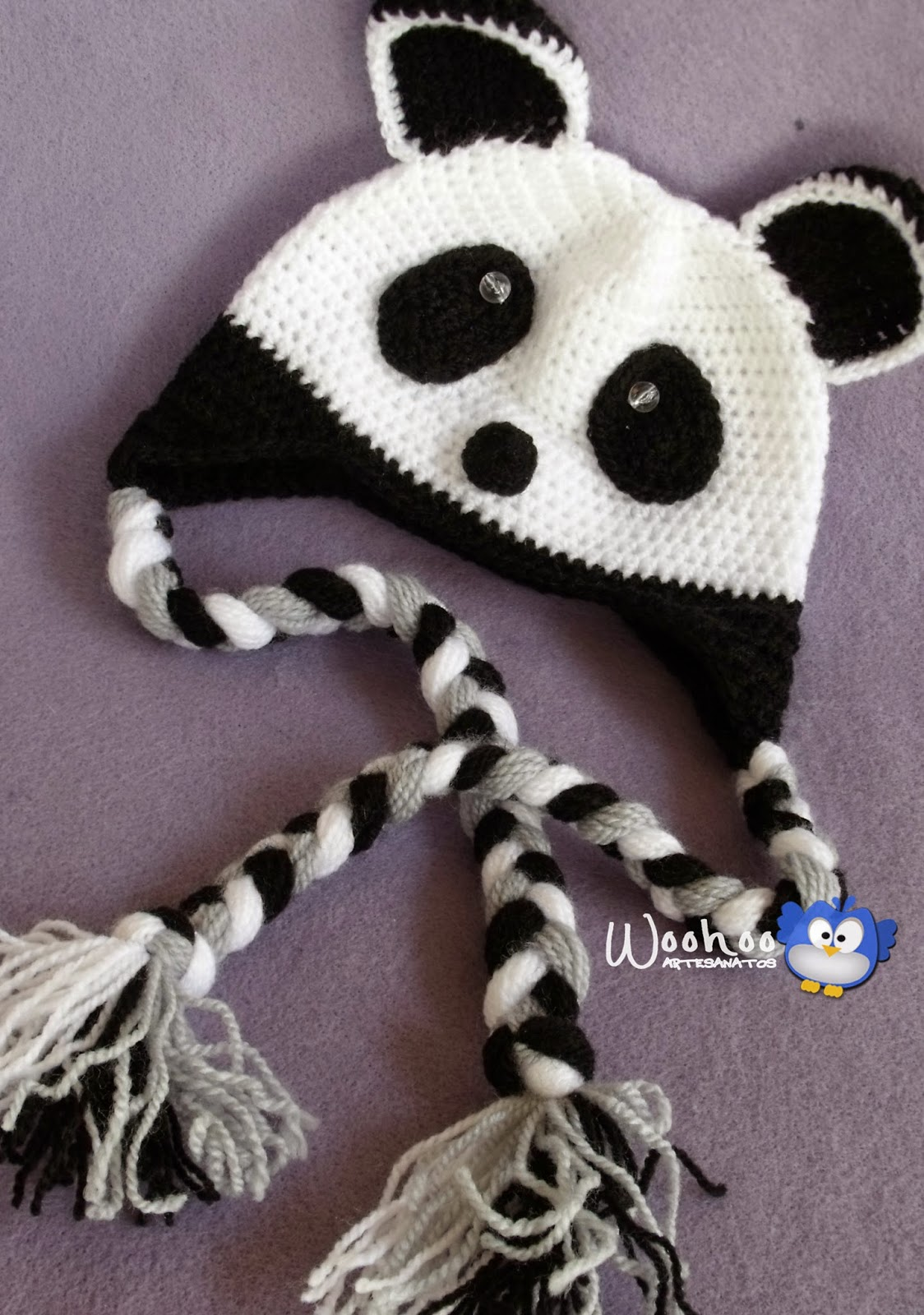 WooHoo Artesanatos  Touca Infantil Ursinho Panda 1bc2181937a