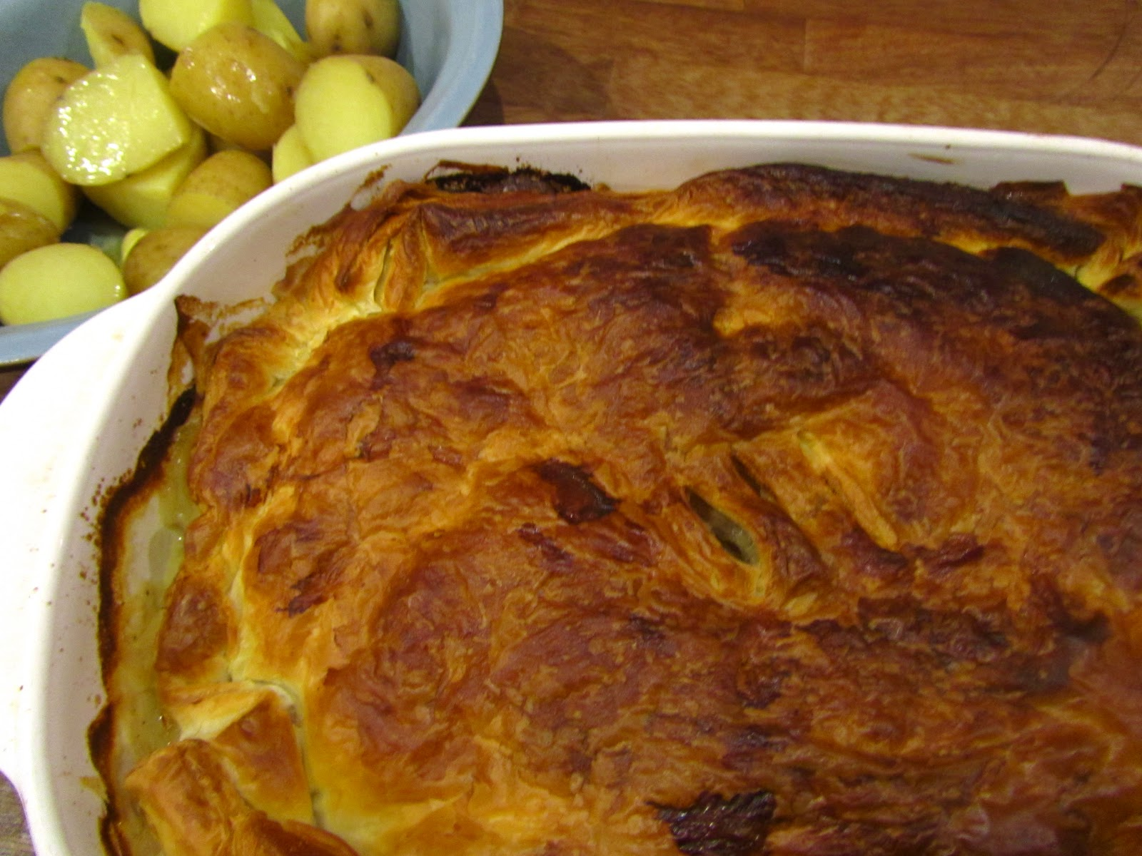 Good food and red shoes chicken pie 4 x 180g skinless chicken breasts a knob of butter olive oil a bunch of spring onions 1 heaped tbsp plain flour 2 tsp english mustard forumfinder Gallery