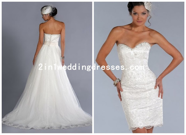 tulle and lace sweetheart neckline a line 2 in 1 wedding dress with convertible skirt