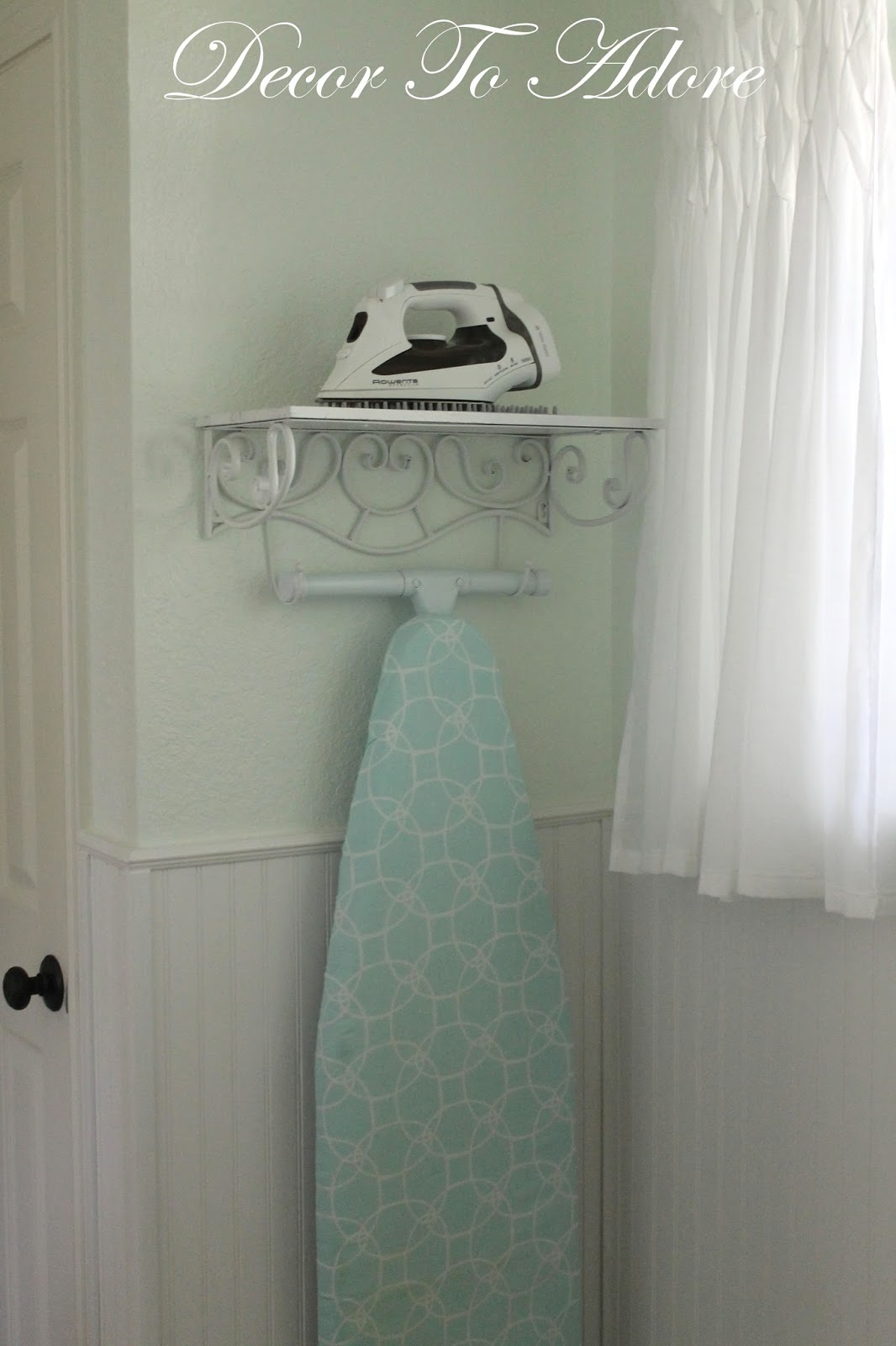 Decor to adore a pretty storage solution for an iron and ironing board - Ironing board solutions for small spaces ideas ...