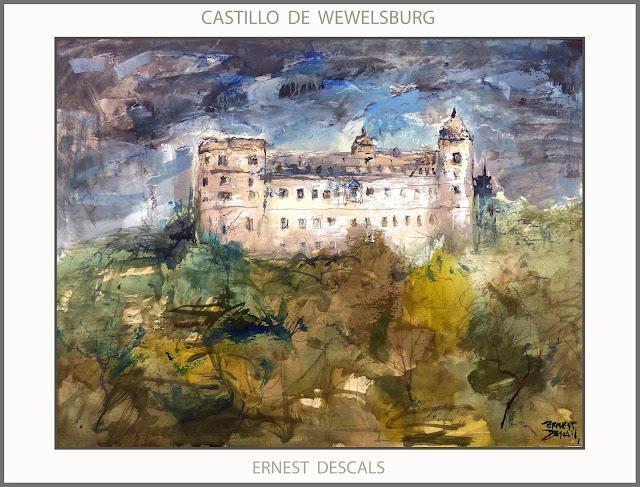 WEWELSBURG-CASTILLO-ALEMANIA-PINTURA-ARTE-HISTORIA-SS-III REICH-PAISAJES-CASTILLOS-ARTISTA-PINTOR-ERNEST DESCALS-