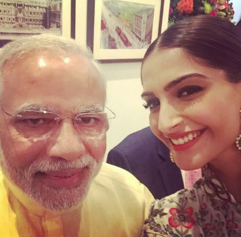 Sonam Kapoor meets with Prime Minister Modi at inuguration of Sir HN Reliance Foundation Hospital in Mumbai