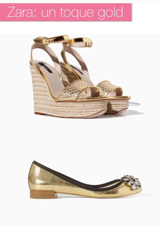 Este año Zara también se apunta a la tendencia plata, oro y glitter. Dos de mis modelos favoritos son estas cuñas con esparto y piel dorada que imita la