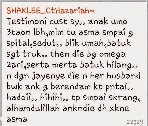 Testimoni Omega Shaklee