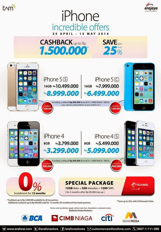 ... ERAFONE : iPhone Incredible Offers Periode 25 April - 15 Mei 2014