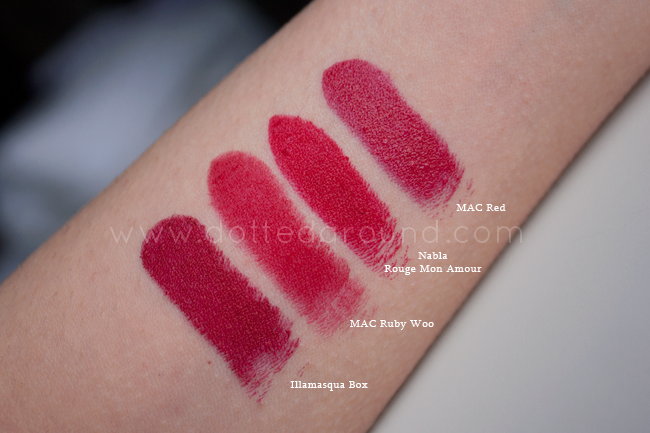 Nabla rouge mon amour swatch ruby woo mac