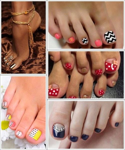 Ideias para pintar as unhas dos pés - art nails 2015
