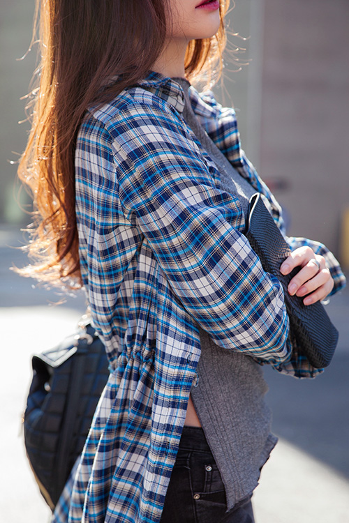 Long Gartered Waist Plaid Shirt