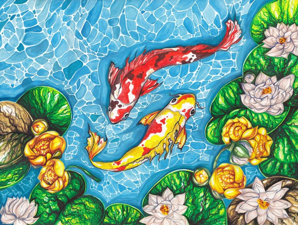 Вышивка рыба в пруду