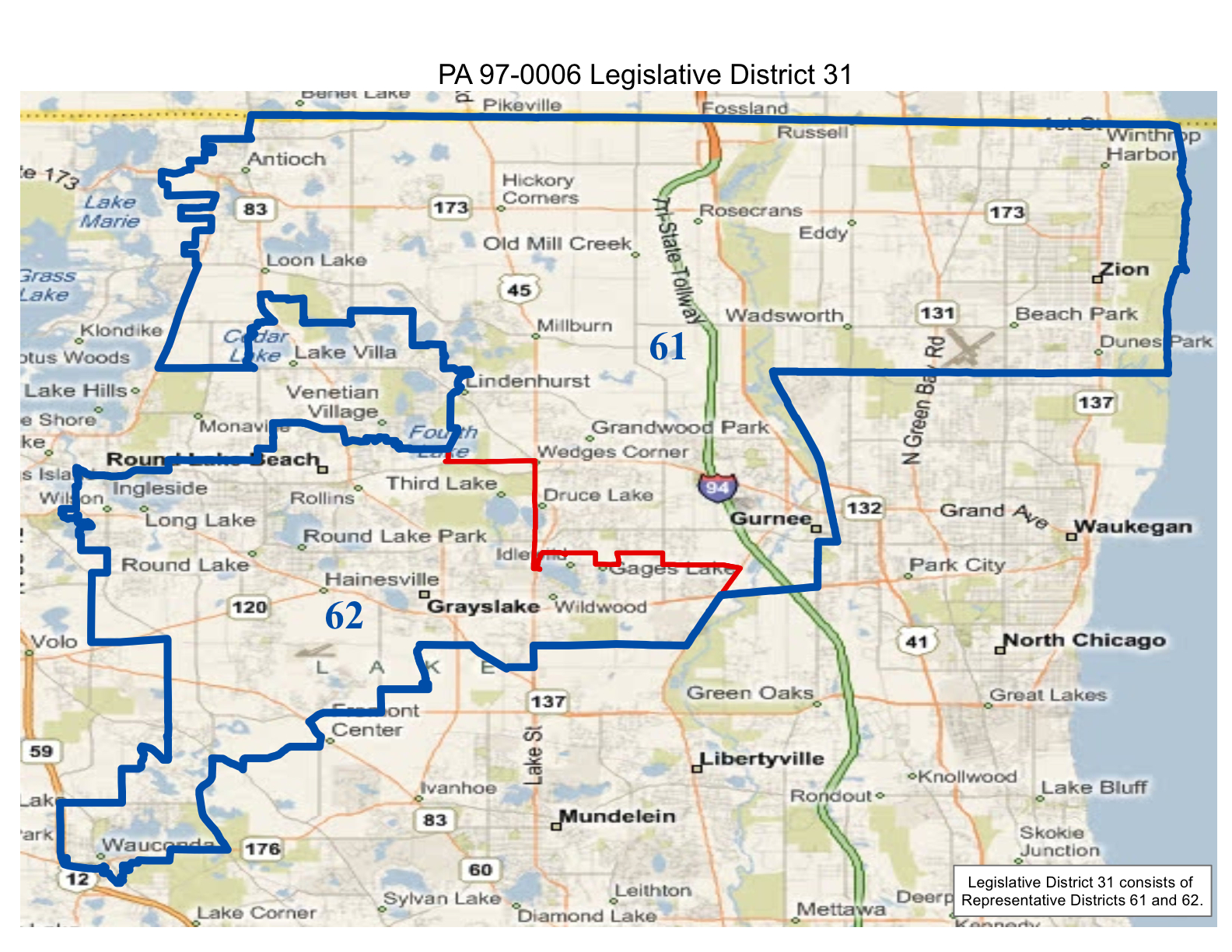 map of realigned illinois state legislative district 31 and state representative districts 61 and 62