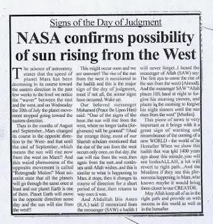 NASA Membenarkan Jika Matahari Akan Terbit dari Barat