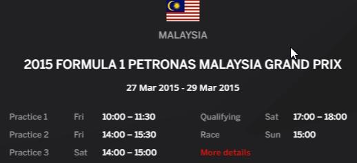 Jadual F1 Grand Prix Malaysia 2015 Sepang