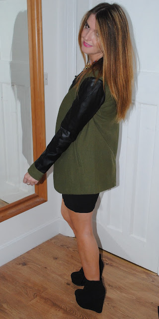 Khaki Jacket with Leather Sleeves - ASOS
