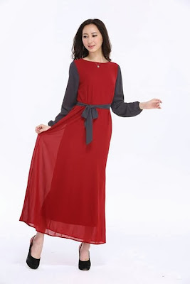 Joint Color Chiffon Jubah With Belt