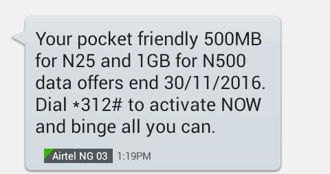 Airtel 100 naira subscription codes