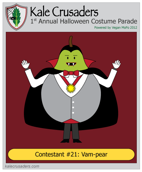 Contestant #21: Vam-pear, Vampire Pear, Kale Crusaders 1st Annual Halloween Costume Parade, Powered by Vegan MoFo 2012