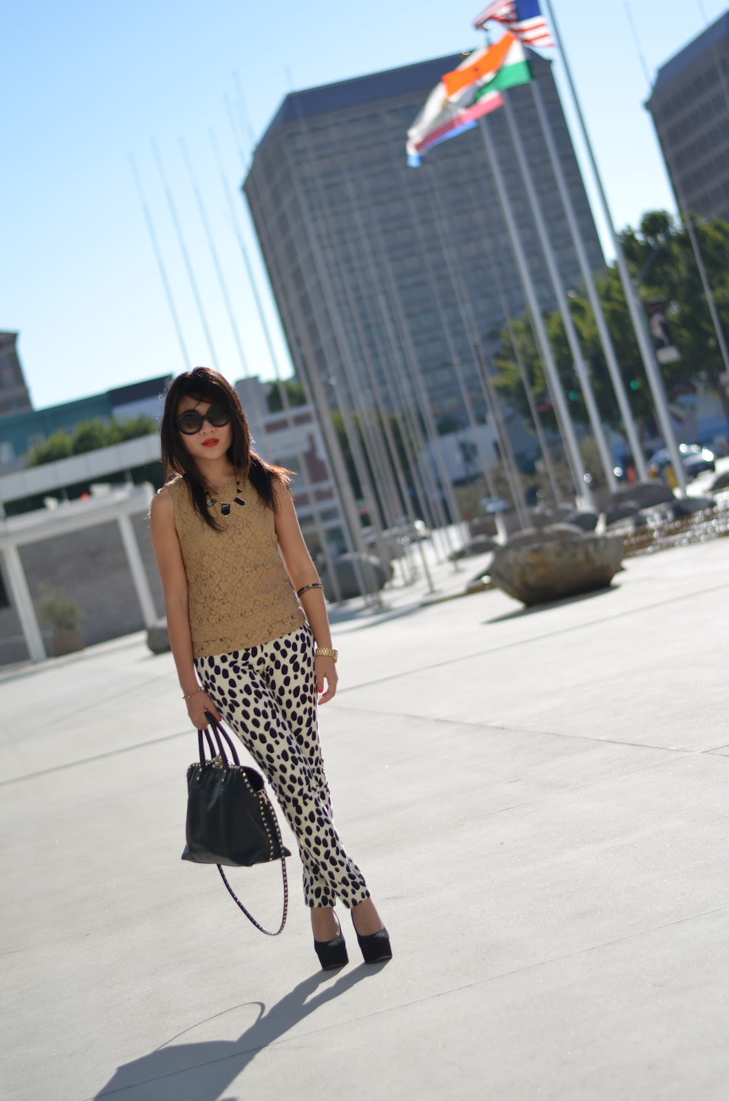 prada baroque sunglasses, banana republic madmen gold lace shell, banana republic mad men gold lace shell, banana republic lace shell, hm dalmatian pants, sam edelman quinn, valentino black rockstud purse, valentino rockstud purse, valentino black rockstud dome purse, valentino rockstud dome purse