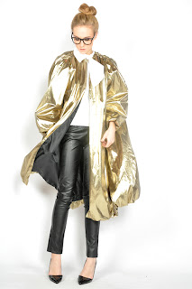 Vintage 1980's gold lame bubble coat with black lining