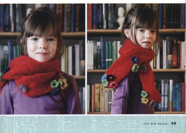 Митенки и шарфик для девочки крючком