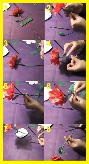 Tallo y flore de papell de seda