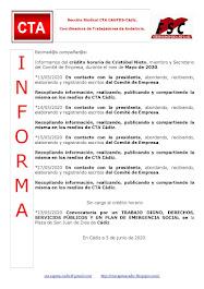 C.T.A. INFORMA CRÉDITO HORARIO CRISTOBAL NIETO, MAYO 2020