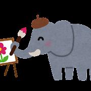絵を描いている象のイラスト