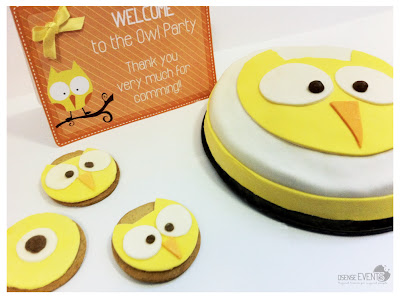 owl cake and owl cookies for event
