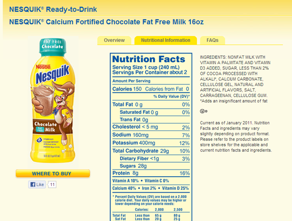 Chocolate flavored milk label example without a nutrient claim showing sugar as sweetener in the ingredient statement.