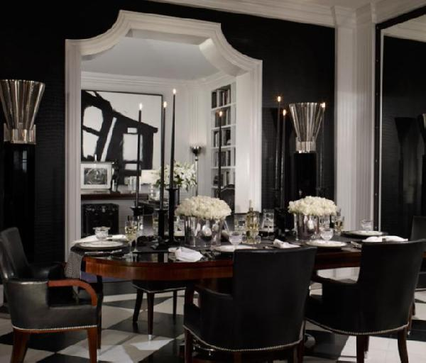 Your hollywood home happily ever dining for Black and white dining room decor