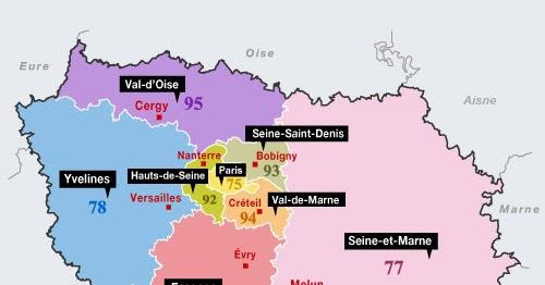 Carte de l 39 ile de france r gion carte france d partement for Carte des hotels en france