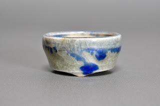 青磁釉丸盆栽鉢(Celadon glaze bonsai pot)h2149