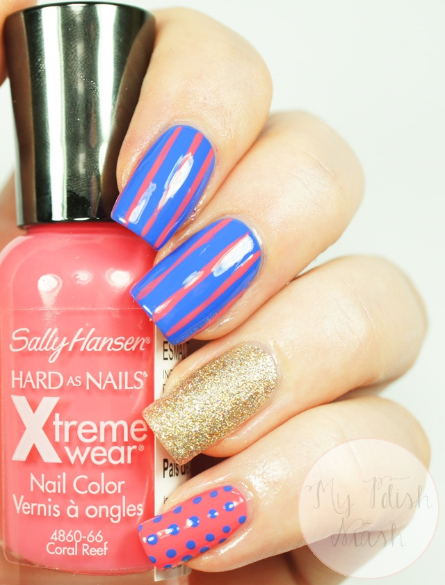 stripes dots nail art
