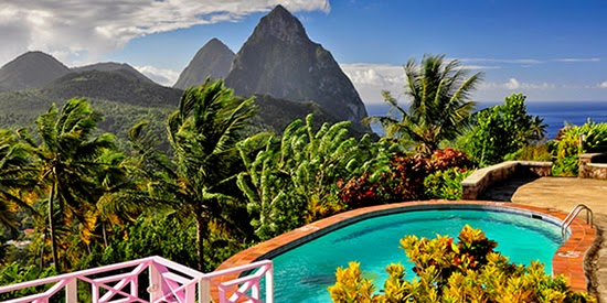 The pool at this boutique hotel for sale overlooking St Lucia's Pitons
