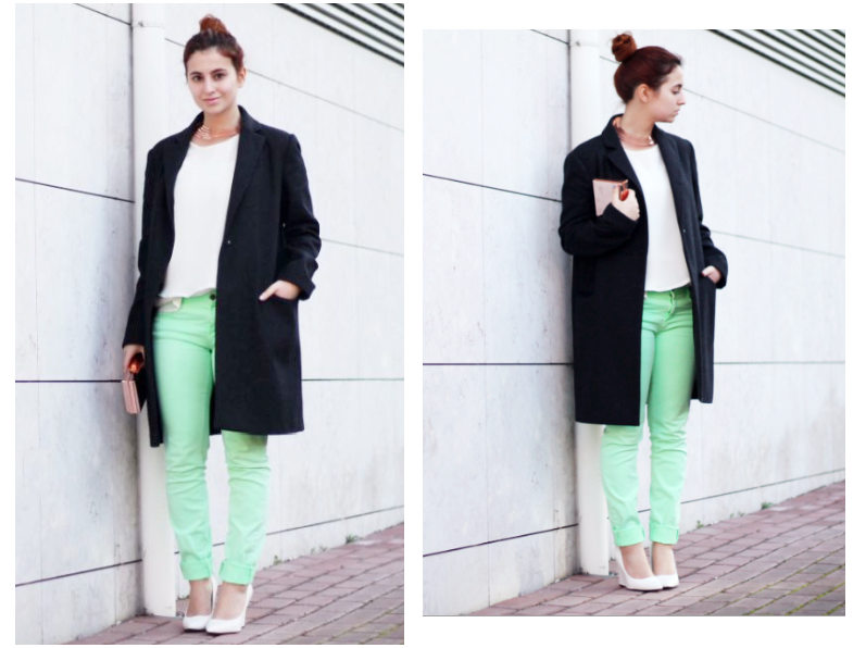 white, mint outfit with rose gold details