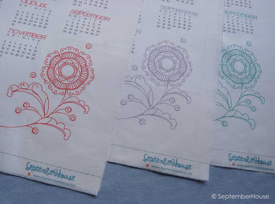 2014 calendar panel modern flower embroidery pattern