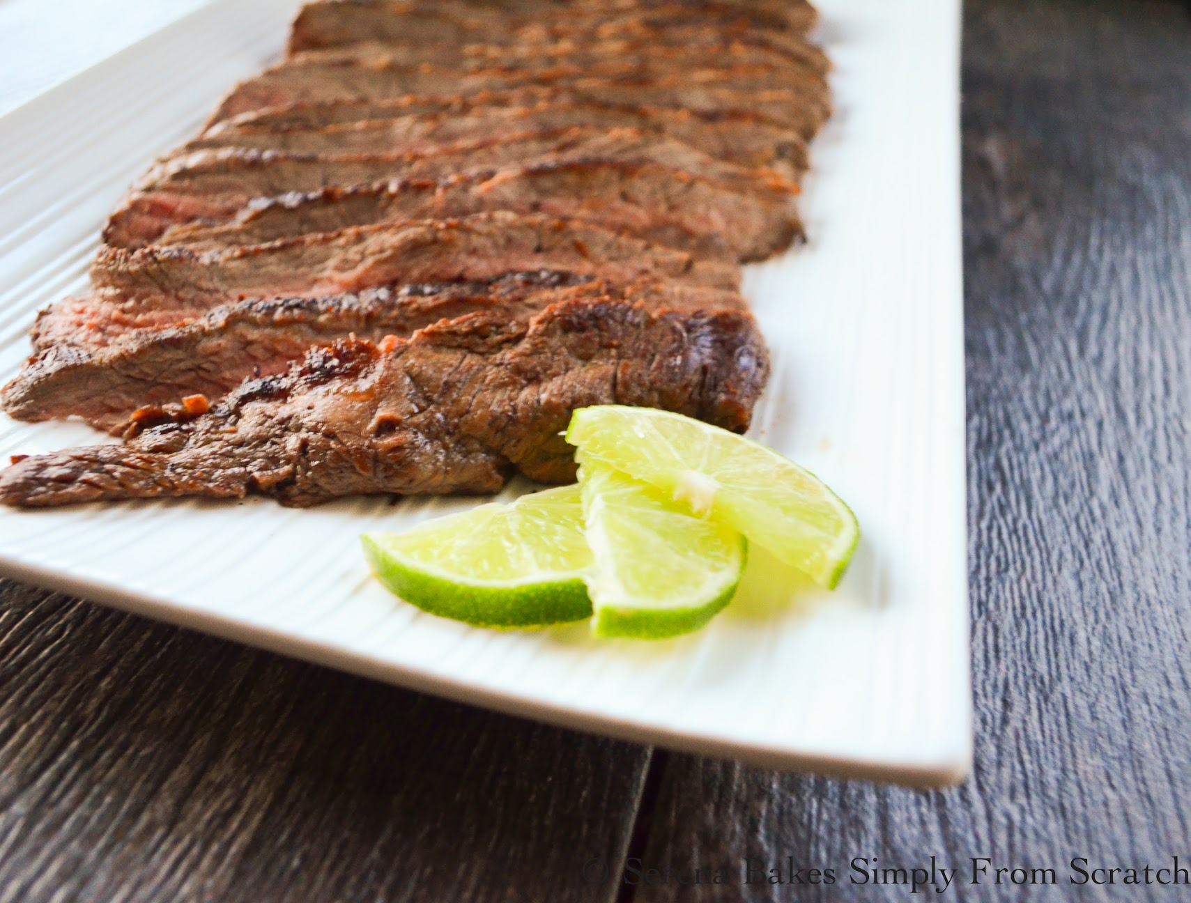Marinated Carne Asada with lime.