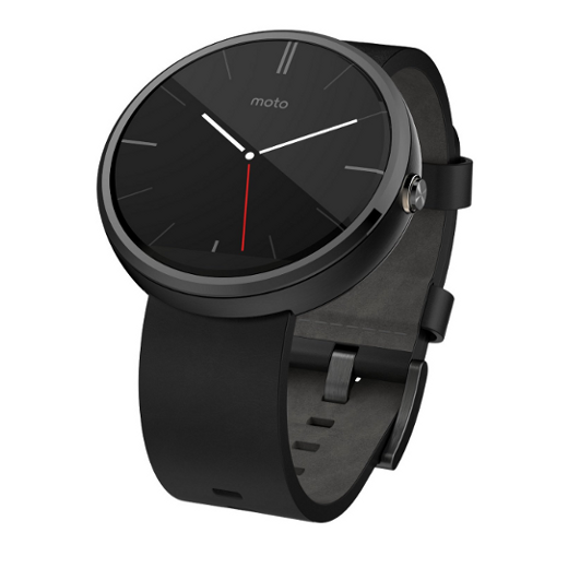 Motorola Moto 360 - Black Leather Smart Watch - image