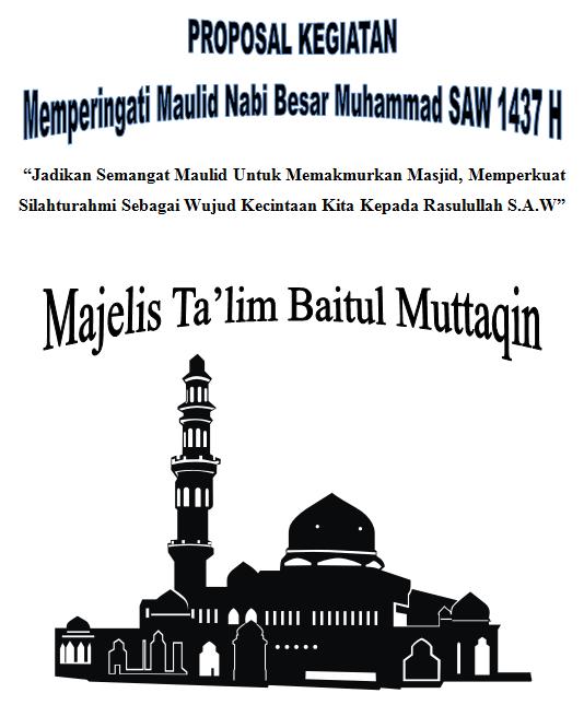 cover proposal maulid nabi muhammad 1437 H