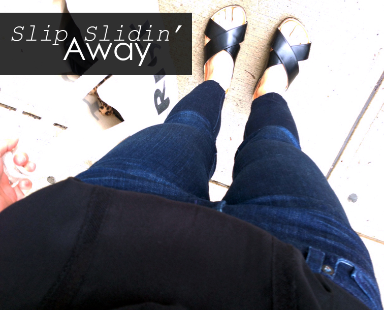 Crisscross slide sandals from H&M, J Brand ankle cutoff jeans, dark indigo denim